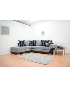 Tatton DA Corner Sofa in Black/Grey Fabric