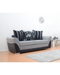 Tatton 3 Seater Sofa in Black/Grey Fabric