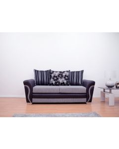 Luxor 3 Seater Sofa in Black/Grey Fabric