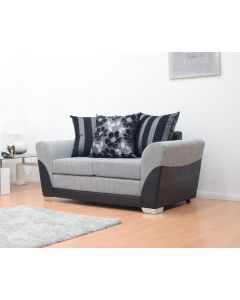 Tatton 2 Seater Sofa in Black/Grey Fabric