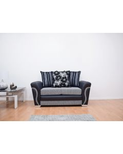 Luxor 2 Seater Sofa in Black/Grey Fabric