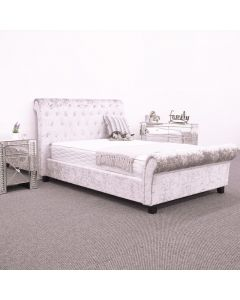 Ludham Silver Crushed Velvet Bed Frame