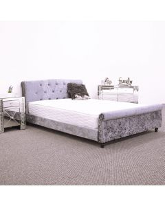 Cantley Silver Velvet Bed Frame